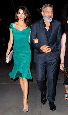 Amal Clooney Steps Out in an Elegant Emerald Look for Date Night with George Celebrity Sightings In New York City - October 2019 Style Satin Midi Dress, Satin Dresses, Amal Alamuddin Style, New York City, 5th Wedding Anniversary, Anniversary Ideas, Celebrity Style Casual, George Clooney, Mode Inspiration