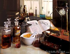 Photo about Turn of the century laboratory with microscope,bottles,mortar and scale. Image of chemical, chemicals, biology - 4116519 Mad Scientist Lab, Natural Beard Oil, Vintage Medical, Potion Bottle, Witch Aesthetic, Alchemist, Organic Skin Care, Vintage Images, Biology