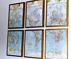 DIY Project: Frame a vintage map in IKEA frames spray painted gold