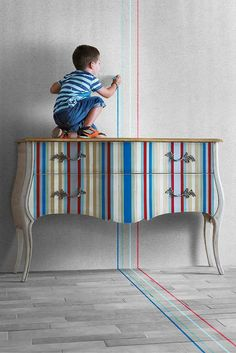 #LolaGlamour Vega #Chest – 140cm (l) x 51cm (d) x 91cm (h).  Stripes and colour! When cleverly combined they have the ability to reinvent an ancient chest into something excitingly contemporary and fresh.  #SatarianoHome.