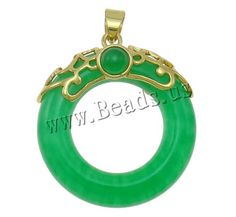 Aventurine Pendants, Brass, with Green Aventurine, Donut, gold color plated, nickel