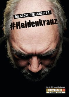 "Read more: https://www.luerzersarchive.com/en/magazine/print-detail/hornbach-62502.html Hornbach Campaign for the Hornbach DIY chain. The German word ""Heldenkranz"" (""Crown of Glory"") is used here as a euphemism for an almost-bald head, something to be ""worn with pride."" Tags: Guido Heffels,Olaf Blecker,Hornbach,Heimat, Berlin,Teresa Jung,Marie Legat,Lukas Kölling,Gunther Osburg"