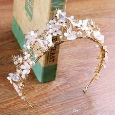 Vintage 2018 Antique Gold Tiaras Frosted Floral Charms Butterfly With Marquise Handmade Pearls Wedding Headpieces Crown Bridal Accessories Wedding Hair Headband Accessories For Brides From Lambeweddin Cute Jewelry, Hair Jewelry, Wedding Jewelry, Gold Jewelry, Gold Wedding, Floral Wedding Hair, Women Jewelry, Hair Wedding, Jewelry Shop