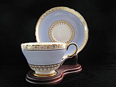 Shelley Cup & Saucer - Blue with Gold Clover Border