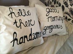 Zelfgemaakte kussens - handsome - gorgeous - pillow