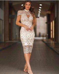 Lace Party Dresses, Bridal Dresses, Lace Dress, Elegant Outfit, Elegant Dresses, African Fashion Dresses, Fashion Outfits, Pencil Dress Outfit, Courthouse Wedding Dress