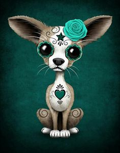 'Blue Day of the Dead Sugar Skull Chihuahua Puppy' Art Print by jeff bartels Chihuahua Art, Chihuahua Tattoo, Chihuahua Drawing, Candy Skulls, Sugar Skulls, Sugar Skull Artwork, Day Of The Dead Art, Cute Tigers, Cute Animal Drawings