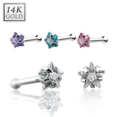 {Clear} 14 Karat Solid White Gold Prong Star CZ Nose Stud Ring - 20 GA - Clear West Coast Jewelry. $21.95