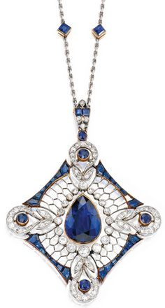 PLATINUM, GOLD, SAPPHIRE AND DIAMOND PENDANT-NECKLACE The kite-shaped pendant of openwork design, centering a pear-shaped sapphire weighing approximately 4.25 carats, accented by numerous round and square calibré-cut sapphires, further set with rose, old European and single-cut diamonds weighing approximately .75 carat, length 16 inches, one sapphire missing; circa 1900.