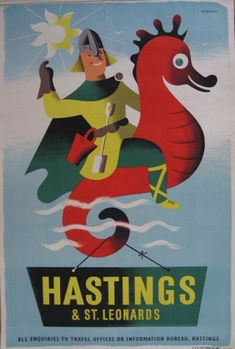 Hastings & St. Leonard's, East Sussex - Tom Eckersley vintage travel poster