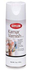 Krylon Kamar spray varnish,  this is a good choice when using oil pastels... and acrylics...