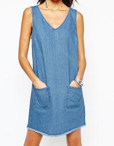 Denim patch pocket dress @Tonjaamenras