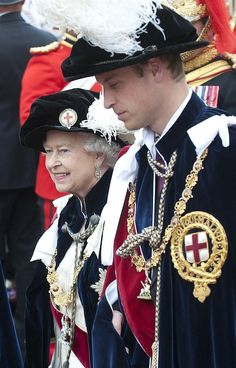 Prince William with The Queen at the Most Noble Order of the Garter service.