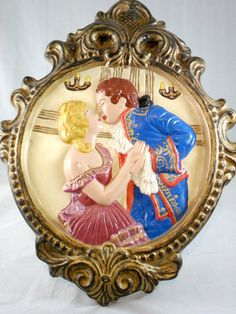 Vintage French Romantic Wall Plaque Hand Painted by grannysgarage