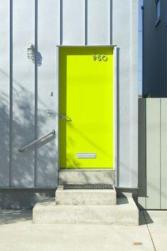 Neon Front Door The Doors, Windows And Doors, Entry Doors, Door Entryway, Front Entry, Front Doors, Mellow Yellow, Neon Yellow, Colour Yellow