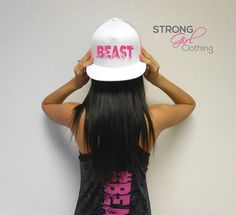 BEAST Hat. Beast Workout Snapback Hat. Flat Bill Cap. Snapback Hat. Cross Training Hat. Gym Headwear. Strong Girl Hat