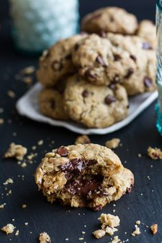 Gooey Chocolate Chip Oatmeal Cookies