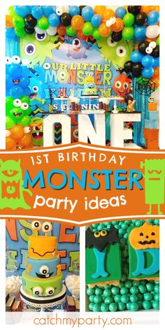 Chynna M's Birthday / Little Monsters Party - Kaiden's Little Monsters First Birthday Party at Catch My Party Boys 1st Birthday Party Ideas, 1st Boy Birthday, First Birthday Parties, Birthday Party Decorations, First Birthdays, Little Monster Birthday, Monster 1st Birthdays, Monster Birthday Parties, Party Ballons