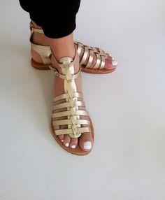 Sandales grecques or or à lanières en cuir par GreekGoddeSSandals