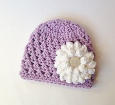 Baby Hat  Crocheted Baby Hat  Hat  Purple/White by TwoPeasInAPodCo