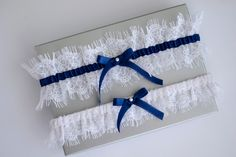 Something blue wedding garter set navy blue bridal by MadameTulle