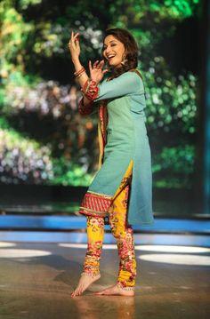 Madhuri Dixit Nene - Floral Churidar Pants... Plain Marine Top (Kurta).... Lovely...