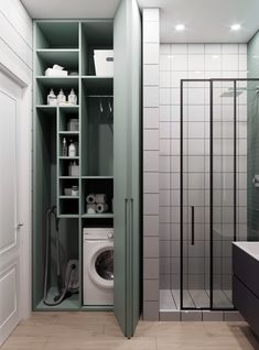Laundry Room Bathroom, Small Laundry Rooms, Laundry Room Design, Bathroom Design Small, Bathroom Interior Design, Modern Bathroom, Home Room Design, House Design, Laundry Cupboard