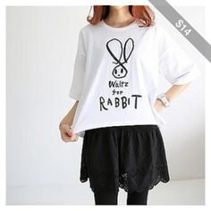 Rabbit Print Asymmetric-Hem T-Shirt