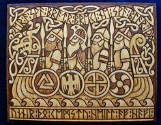 Wikinger-Krieger in Langschiff mit Runen Inschrift