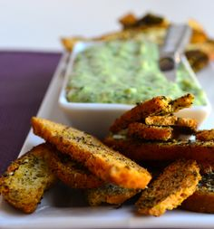 Za'atar Bagel Chips With White Bean Dip - Vegan