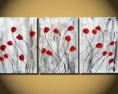 Red Tulips flower painting, Original Art Nature heavy texture on Canvas, Red floral painting, natural home decor, botanical tulips, abstrac
