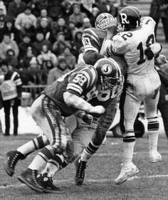 Quarterback Russ Jackson takes a hit in the 1969 Grey Cup. The Ottawa Rough Riders defeated the Saskatchewan Roughriders 29 to Jackson would earn the games MVP award & retire. Saskatchewan Roughriders, Grey Cup, Canadian Football, Rough Riders, Vintage Football, Ottawa, Nfl, Monster Trucks, Jackson