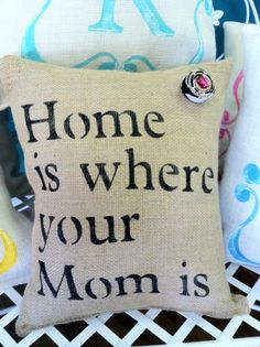 Mom Pillow by Burlapulous on Etsy, $28.00