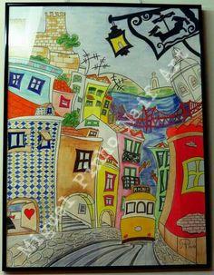 Lisboa menina e moça. Pintura a lápis no papel com 80 X 60