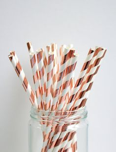 25 paper straw Stripes Rose Gold Foil Paper Straw party