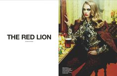 English model Cara Delevingne appears in 'The Red Lion' for Numero #135 August 2012 as photographed by Miles Aldridge and styled by Samuel François.