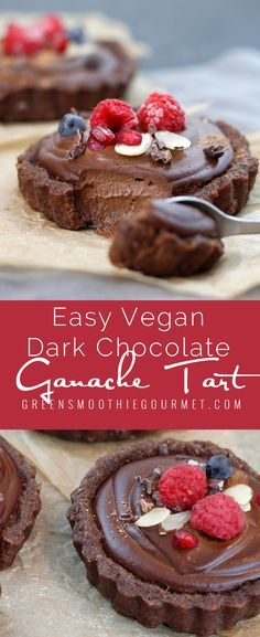 Raw Vegan Dark Chocolate Ganache Tart. The easiest raw tart ever, and so tasty you won't need to know how to store it, it won't last that long in your house! A rich, creamy, chilled dessert that you will be proud of, and best of all, will make you feel great with all the protei