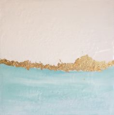 Abstract Landscape Blue on Canvas with Gold by BSandersDesignCo, $35.00