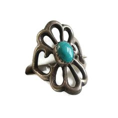 Vintage Sand Cast Turquoise Ring in Open Work by MyVintageJewels