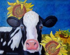 Print from Original painting Cow Sunflower 8 x 10 by CathyDarling, $20.00