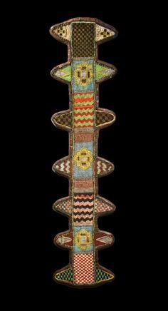 Africa | Beaded Oko staff sheath from the Yoruba people | 19th - early 20th century