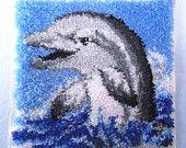 vintage latch hook rug kit dolphin