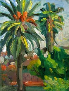 """Daily Paintworks - """"Palms View"""" by Carol Steinberg"""