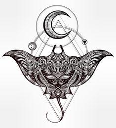Руки drawn вектор корчи рыбы в маори племенных орнамент декора. Стингрей этническое происхождение, тату искусства, Дайвинг, богемная дизайн. Использовать для печати, плакаты, футболки, Текстиль