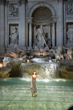 At Fendi's 90th Anniversary Runway Spectacular, in the Trevi Fountain in Rome…