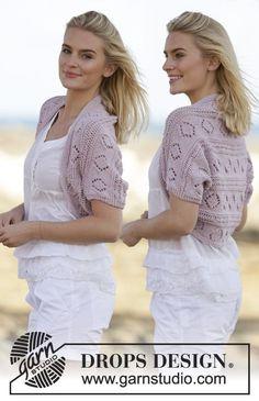 """Soft Rime - Capa para los hombros DROPS, de punto, con patrón de calados, en """"Paris"""". Talla: S – XXXL. - Free pattern by DROPS Design"""