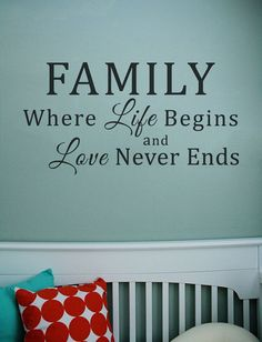 Family Wall Lettering Love Never Ends by eAppliques on Etsy. The best part about life is with family!!!!