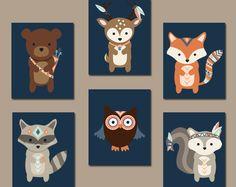 Tribal WOODLAND Nursery Wall Art- Animal Artwork- Navy Forest Pals Deer Squirrel OWL Raccoon FOX Boy Bedroom Canvas or Prints Set of 6 Decor