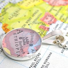 Vintage Map Sterling Silver Round Necklace.  Addis Ababa Ethiopia Africa.. $48.00, via Etsy.