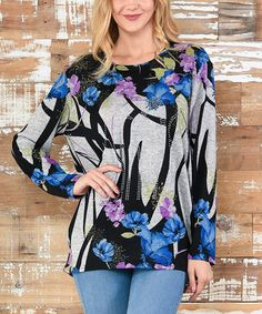 Loving this Black & Blue Floral Scoop Neck Tunic on #zulily! #zulilyfinds